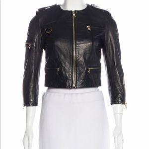 Alice Olivia cropped leather jacket